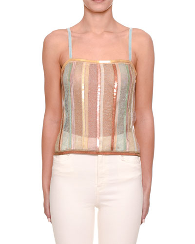 Sewn-In Sequin Knit Cami Top