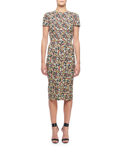 Short-Sleeve Floral-Print Midi Dress