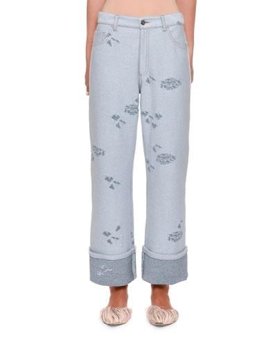 Distressed Knit Boyfriend Jeans