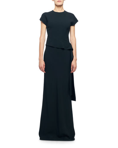 Cap-Sleeve Draped Waist Asymmetric Dress