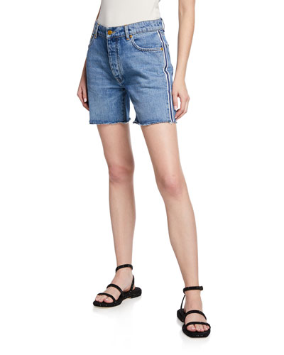 Mid-Thigh Worn Denim Shorts