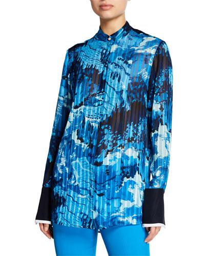 Landscape-Print Plisse Button Front Blouse