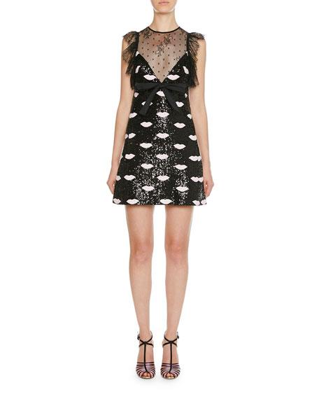 Giambattista Valli Lace Trim Lip-Embroidered Sequin Mini Dress