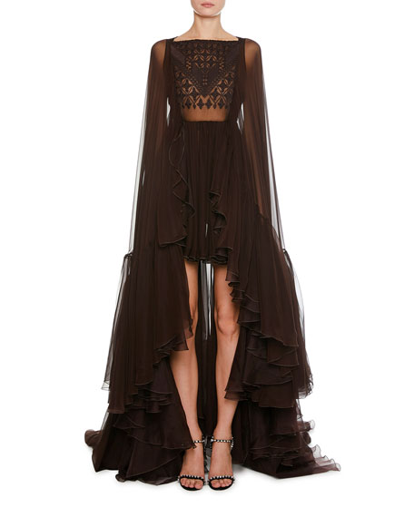 Giambattista Valli Mosaic-Embroidered Cape-Back High-Low Tulle Gown