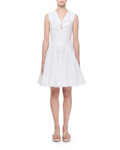 Sleeveless Keyhole Gored Fluted Dress