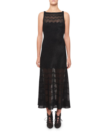 ALAIA Squiggled Knit Illusion Dress