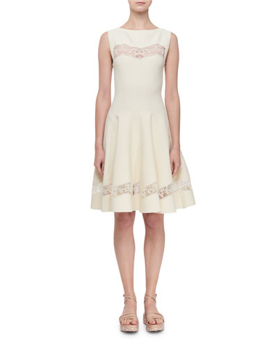 Raffia-Embroidered Sheer Panel Dress, White