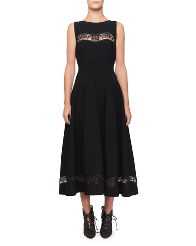 Raffia-Embroidered Sheer Panel Dress, Black