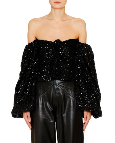 Off-the-Shoulder Sequin Top