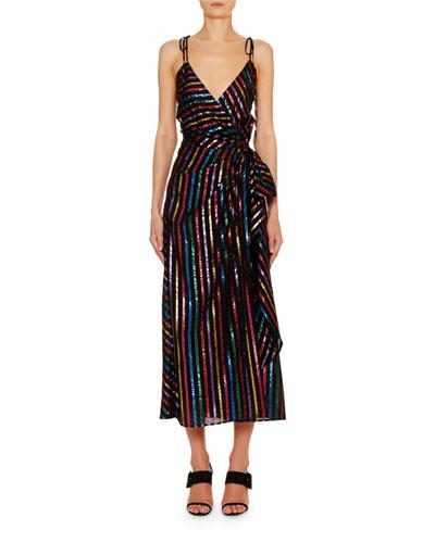 Rainbow-Striped Wrap-Front Midi Dress
