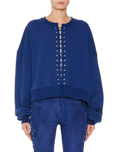 French-Terry Lace-Up Sweatshirt