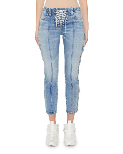 Stone-Washed Button-Side Skinny Jeans