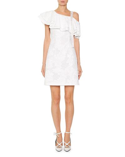 e746e35787 Quick Look. Off-White · Ruffled Sangallo Lace One-Shoulder Dress