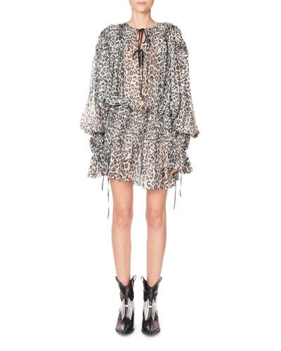 Long-Sleeve Tie-Neck Keyhole Mini Dress