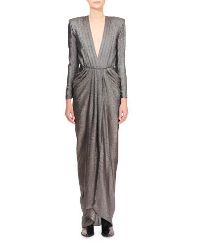 Shimmer Silk Deep-V Gathered Waist Dress
