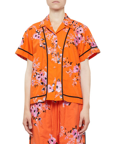 Copin Floral-Embroidered Short-Sleeve PJ Top