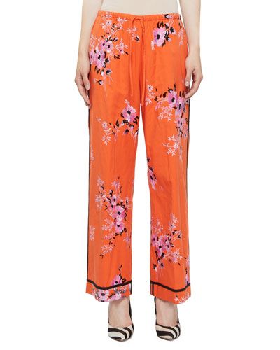 Pulvis Floral-Embroidered Drawstring Lounge Pants