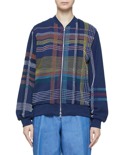 Embellished Multicolor Plaid Zip-Front Jacket