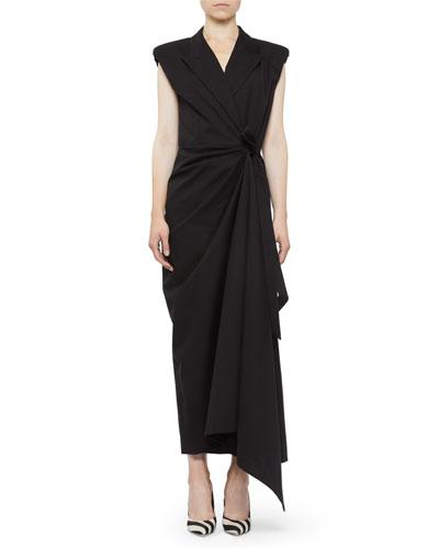 Shirred Cap-Sleeve Tie-Waist Dress