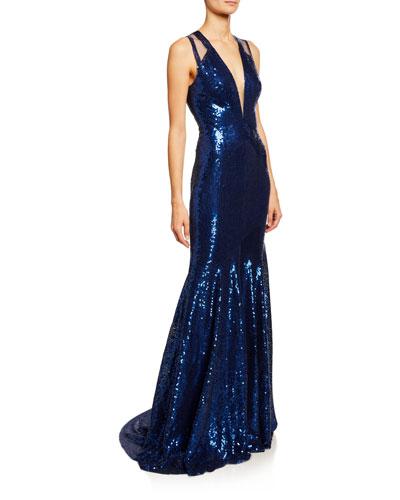 b1e5e2bc17 Deep V Neckline Gown