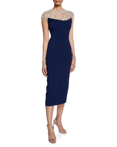 Olivia Beaded Tulle Illusion Cap-Sleeve Midi Dress