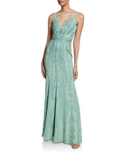 Bacall Beaded Geometric Sleeveless Column Gown