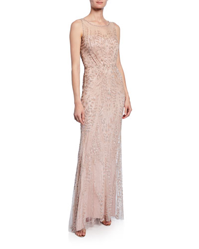 Hermia Feather-Beaded Illusion Gown