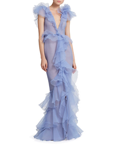 Pebbled Organza Deep V-Neck Draped Gown