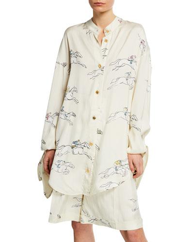 988f361c4a3d47 Quick Look. Escada · Racing-Horse Print Long-Sleeve Blouse