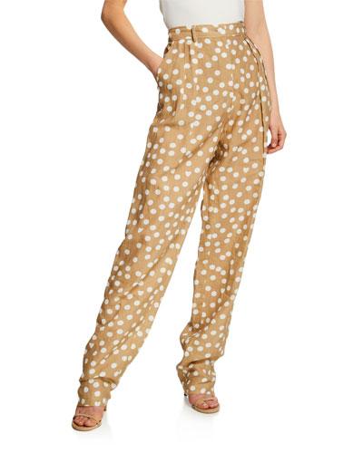 Pleated Polka-Dot Linen Pants