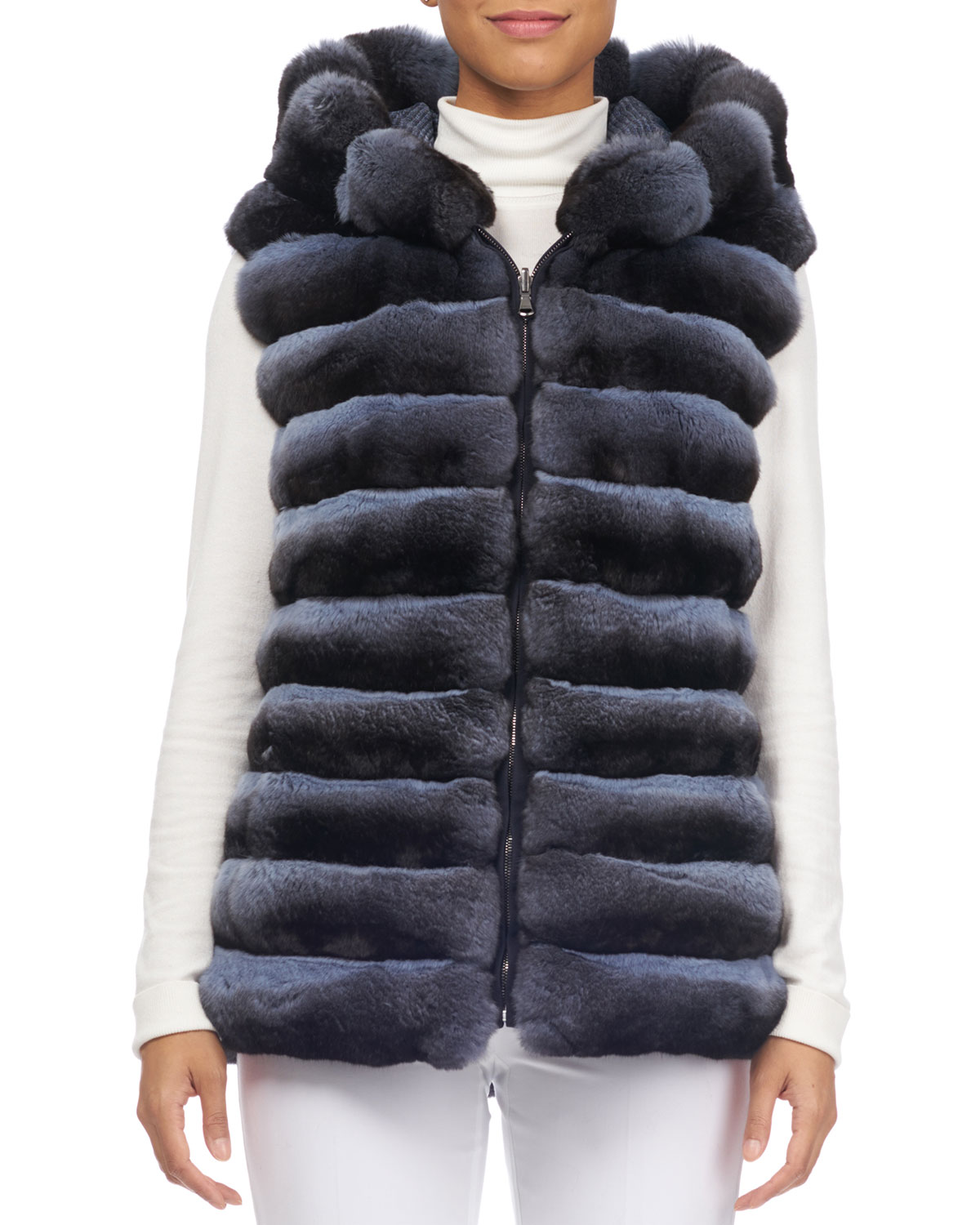 NORMAN AMBROSE Zip-Front Hooded Reversible Chinchilla Fur Quilted Vest in Light Blue