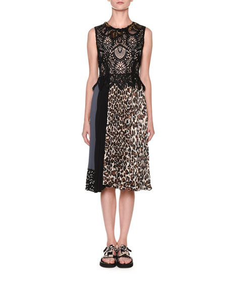 Antonio Marras Lace-Bodice Leopard-Skirt Dress