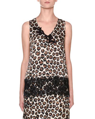 Leopard-Print Sleeveless V-Neck Lace-Trim Top