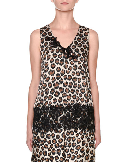 Antonio Marras Leopard-Print Sleeveless V-Neck Lace-Trim Top