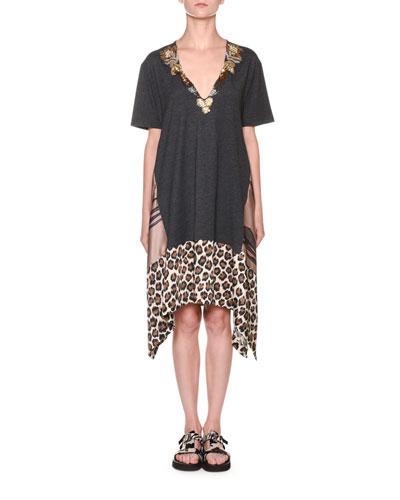 Leopard-Print Hem T-Shirt Dress