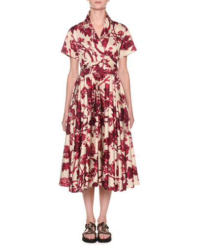 Short-Sleeve Wrapped Floral Midi Shirtdress