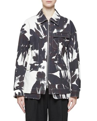 Denim Floral Cinched-Waist Jacket