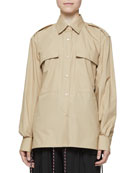 Dries Van Noten Button-Front Long-Sleeve Shirt with Epaulets