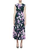 Dries Van Noten Abstract Floral-Print Pleated Midi Skirt