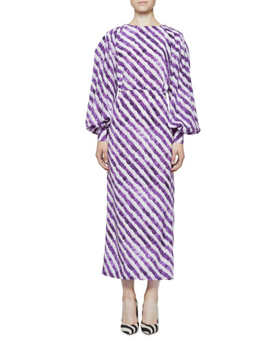 Diza Feather-Print High-Neck Poet-Sleeve Draped-Back Silk Dress