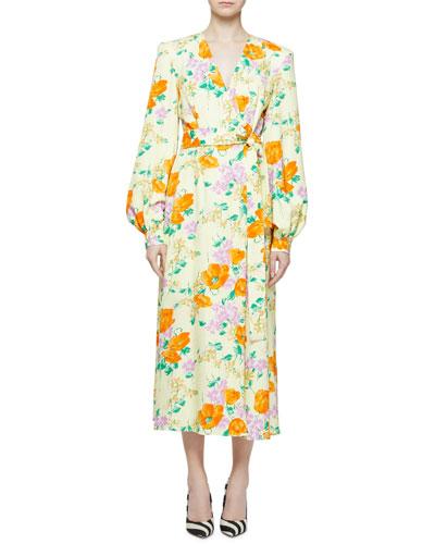 Floral Jacquard Surplice-Neck Bishop-Sleeve Wrap Dress