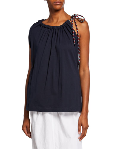 One-Shoulder Drawstring T-Shirt