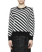 Dries Van Noten Diagonal Stripe Crewneck Long-Sleeve Sweater