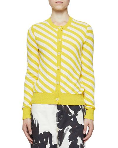Diagonal Stripe Crewneck Button-Front Cardigan