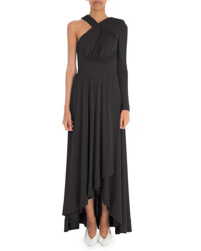 One-Sleeve Draped Dress