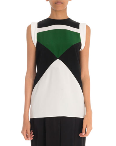 Sleeveless Colorblocked Silk Crepe de Chine Blouse