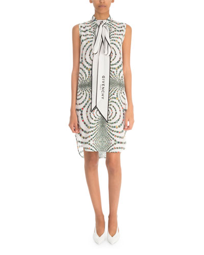 Floral Sleeveless Tie-Neck Dress