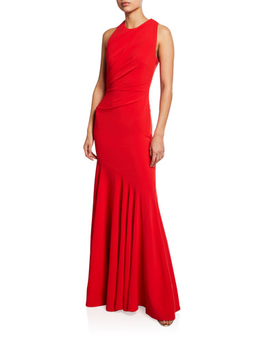 Sorbets Cutout Stretch-Crepe Halter Gown