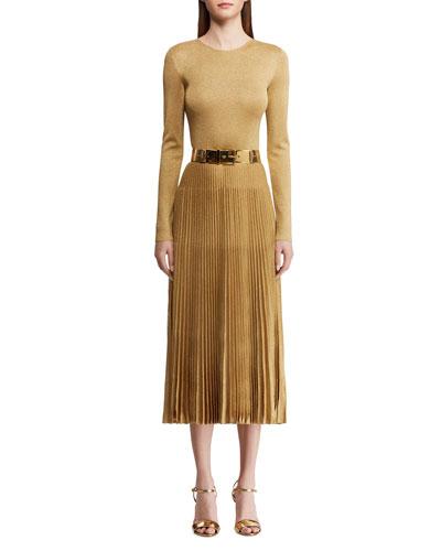 Pleated Crewneck Dress