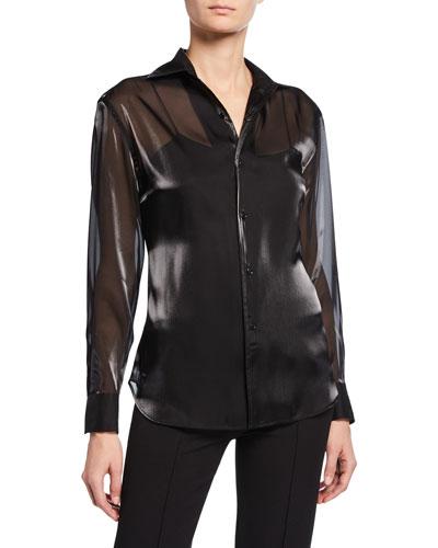 Bryson Iridescent Chiffon Button-Front Shirt